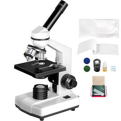 Vevor 40x-2500x Monocular Compound Microscope 3d Mechanical Stage W Led Light