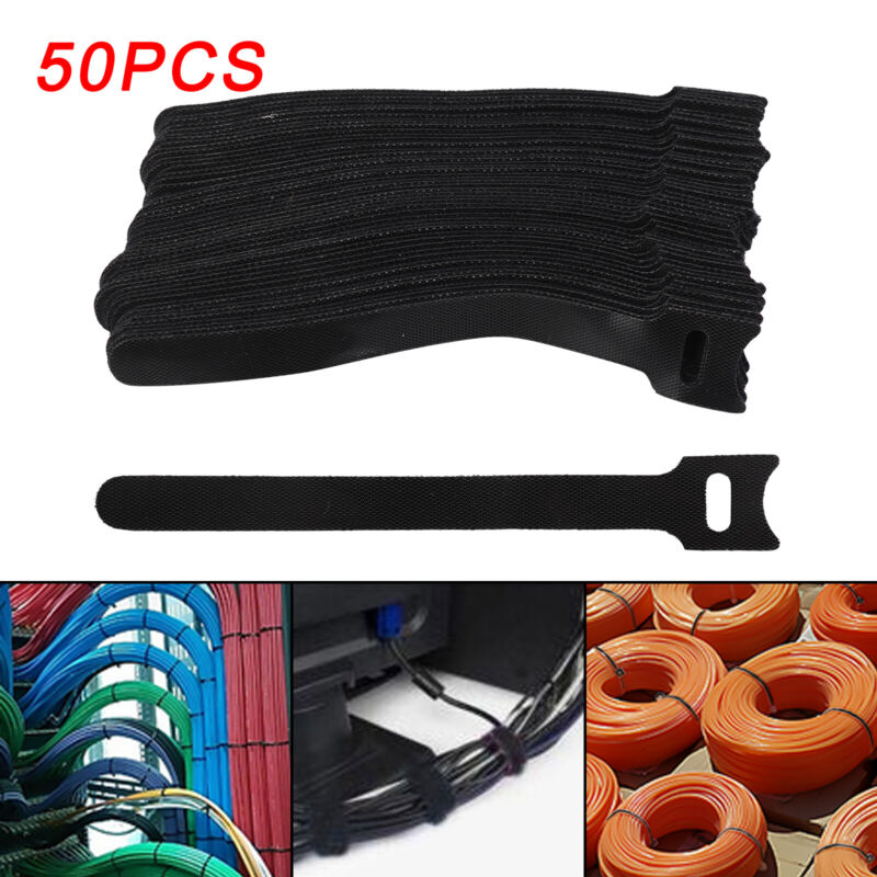 50pcs Durable Reusable Nylon Strap Hook and Loop Cable Cord Ties Tidy Organiser
