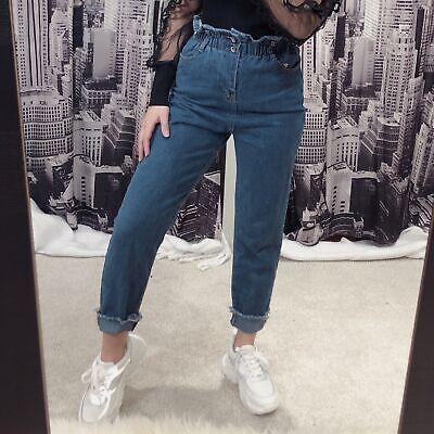 Jeans donna vita alta arricciata pantaloni casual skinny slim fit aderente 2533