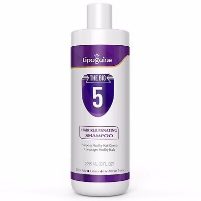 Lipogaine Big 5 All Natural Shampoo For Anti Hair Loss   Thinning Hair Regrowth