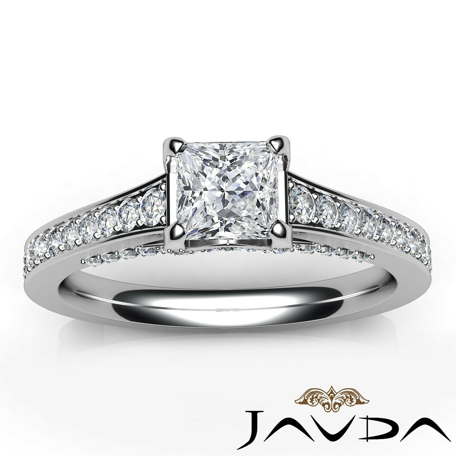 1.46ctw Tapered Pave Princess Diamond Engagement Ring GIA G-VS2 White Gold Rings 6