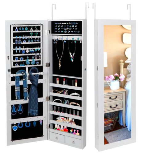 Large Mirror Jewelry Cabinet Armoire Storage Boxes Velvet In