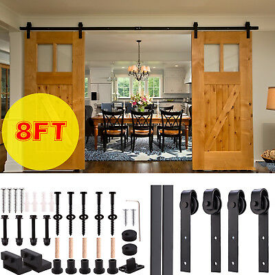 6/8/10FT Steel Sliding Barn Door Rollers Hardware Track Kit Double Wood Closet ()