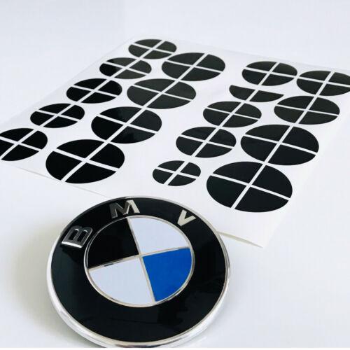 70x Aufkleber schwarz glänzend - BMW Emblem Felge Logo 1 2 3 4 5 6 M X