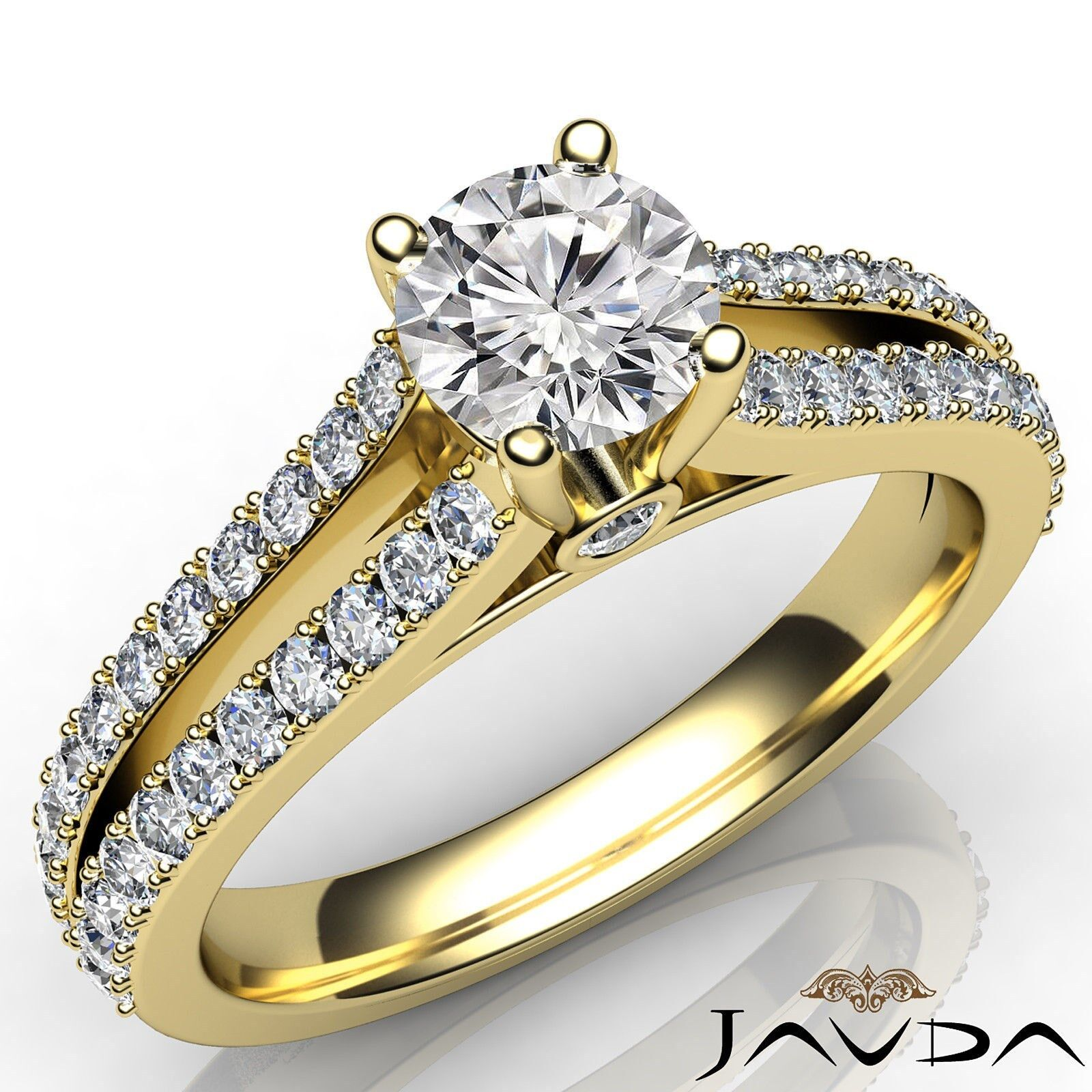 French Pave Set Round Diamond Engagement Split Shank Bezel Ring GIA D SI1 1.15Ct