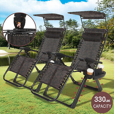 2X Zero Gravity Chair Folding Lounge Outing Heavy Duty Square Frame W/ handle ()