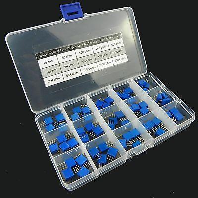15value 60pcs 3296 Trim Pot Trimmer Potentiometer Assortment Box Kit