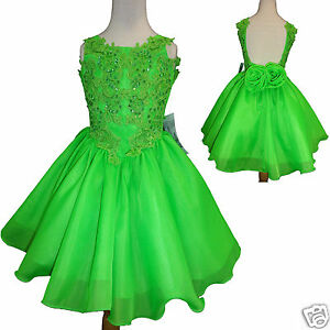 Toddler Little Girl Formal Dress For Pageant Wedding Green Size 1 7 Yesrs Old