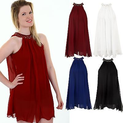 LADIES CHIFFON TIE BACK GATHERED PLEATED STUDDED COLLAR BAND WOMEN'S FLARE TOP ()