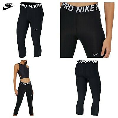 Nike Women's Pro Capri Tight Fit Black Gym Fitting Yoga Pants Running XS S M L X