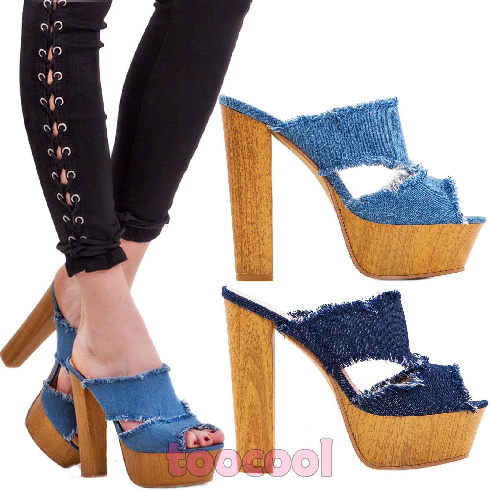 difetto Affrontare clone  Scarpe donna sandali sabot clogs jeans sfrangiati tacco comodo nuove  K2L9328-40 | eBay