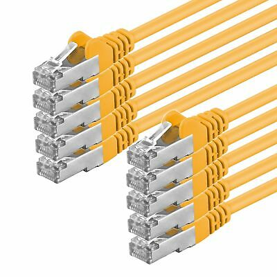 10' Cat6-kabel (10 Stück CAT6 Kabel S/FTP PiMF Patchkabel LAN Netzwerk RJ45 10x gelb 0,25m- 20 m)