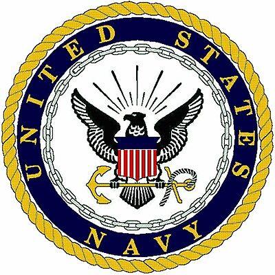 "US Navy Emblem 8"" x 8"" Printed Fabric Quilt Block  Applique Fabric"