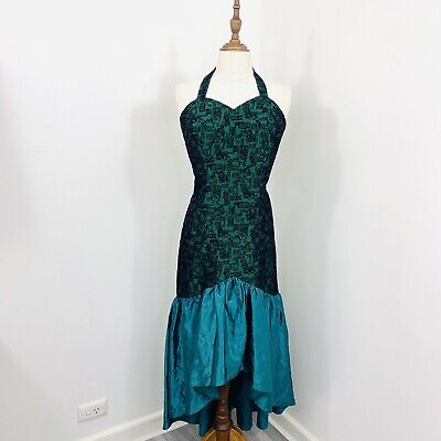 80s Dresses | Casual to Party Dresses Vintage 80s Bridesmaid Dress Halter Green Black Mermaid Party Formal fit Size 10 $46.34 AT vintagedancer.com