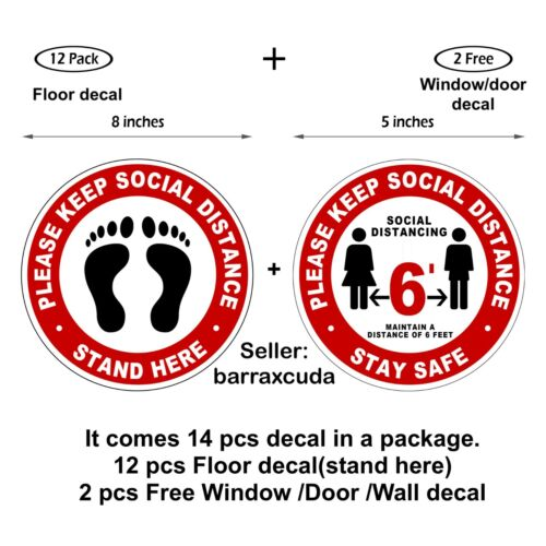 12 Pack   Social Distancing Floor Decals Stickers, Please keep social distance