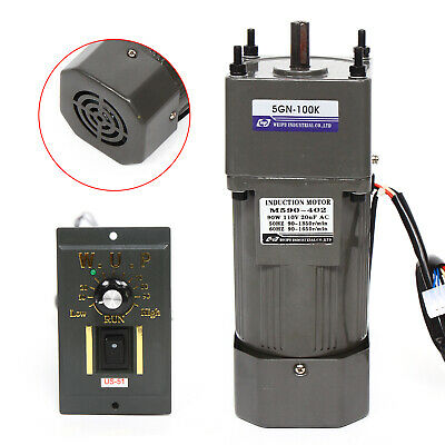 Ac 110v 90w Gear Motor Electric Variable Speed Reduction Controller New