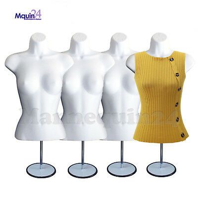 4 White Mannequin Female Torso Wmetal Stands 4 Hangers - 4 Dress Forms