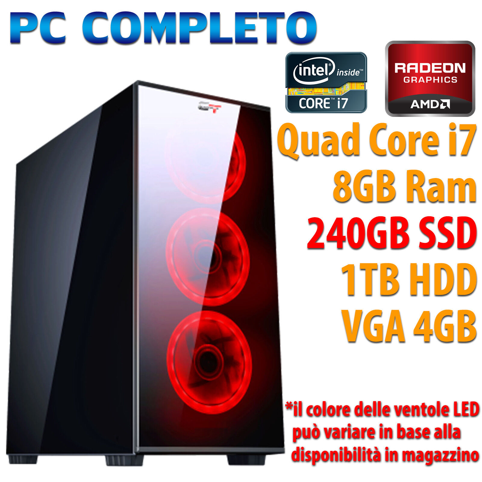 computer game - PC Computer Game Gaming Case Glass+LED / Quad Core i7 8GB 240GB 1TB Rx 560