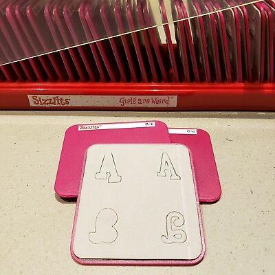 Sizzix Sizzlits - Girls Are Weird Alphabet Set - 35 Die Cuts & Case Scrapbook