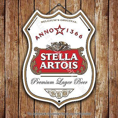 Stella Artois Beer Advertising Bar Old Pub Metal Pump Badge Shield Steel Sign