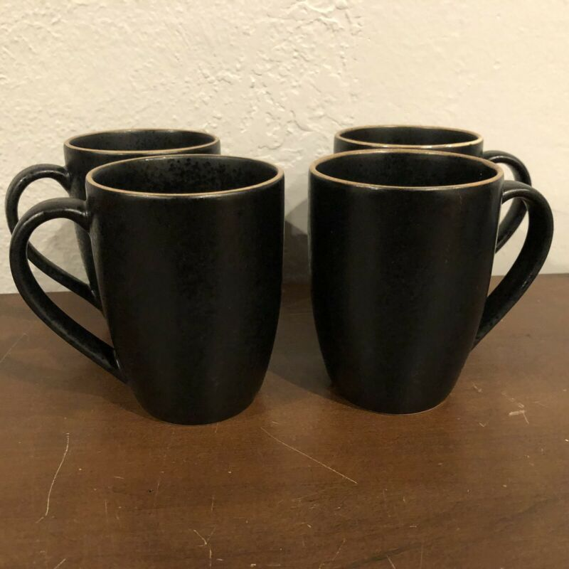 SET OF 4 DANSK SANTIAGO BLACK COFFEE MUGS