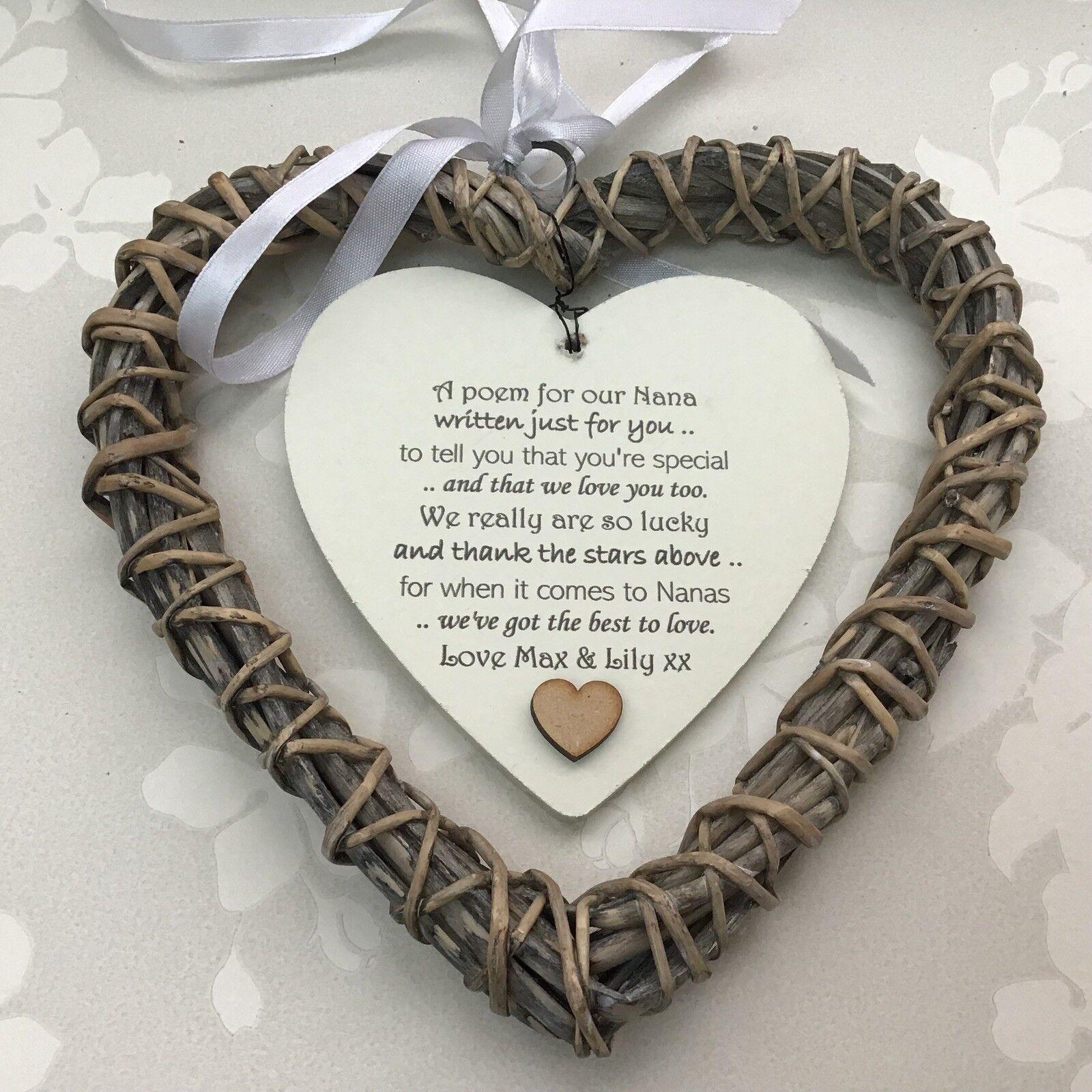 Shabby personalised Chic NANA Nanny NANNIE Granny ~ ANY NAMES Gift Willow Heart