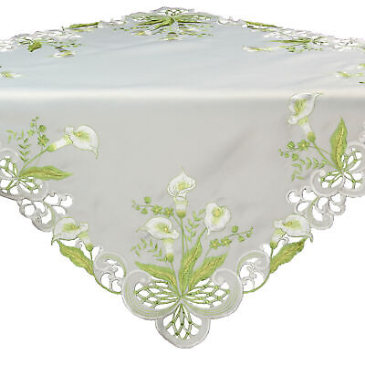 Calla Lily Table - Calla Lily Spring Embroidery Tablecloth Table overlay 34 x 34