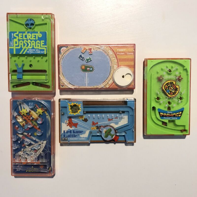 Tomy Pocket Game Lot of 5 Games Vintage- Bi Plane, Speedway, Secret Passage
