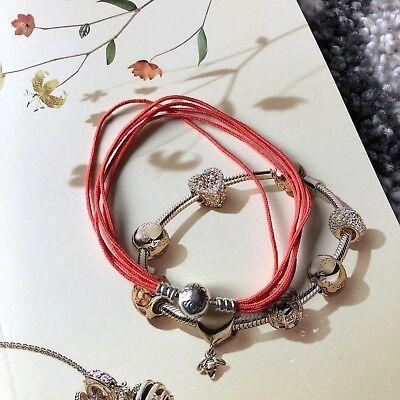 NEW RETIRED PANDORA 590715COE MOMENTS Orange Multi Strand String Bracelet   ()