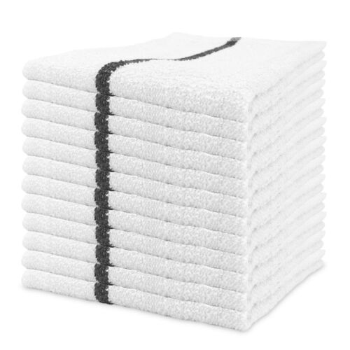 Qwick Wick Bar Mop Terry Towels -  16 x 19 Cotton Kitchen Towels - Packs of 12