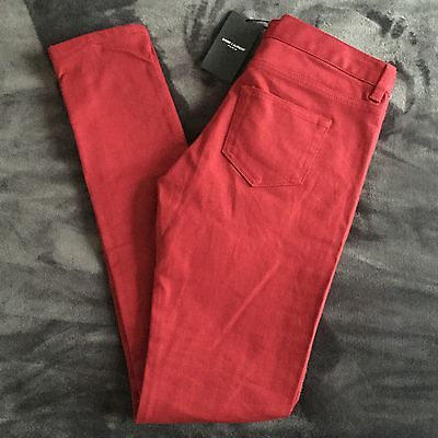 Saint Laurent Paris Signature 5 Pocket Deep Red Skinny Women's Jeans Size 29