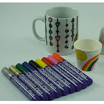 Porcelain Pens 9 Colours For Mugs, Plates Bake in Oven Dishwasher Proof Single