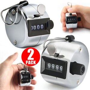 2PCS Handheld Tally Hand Counter 4 Digit Number Manual Mechanical Clicker Golf