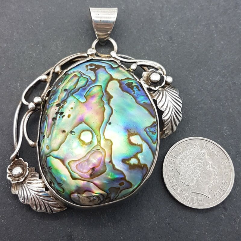 Huge Vtg Sterling Silver & Abalone Art Nouveau Style Pendant - 20g in Weight -