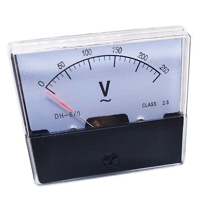 Us Stock Analog Panel Volt Voltage Meter Voltmeter Gauge Dh-670 0-250v Ac