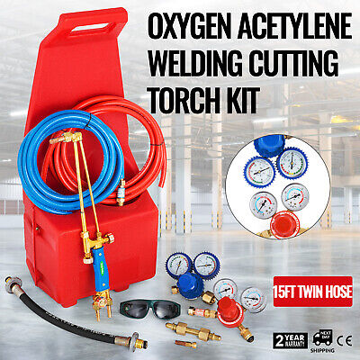 Gas Welding Cutting Kit Oxy Propan Oxygen Torch Brazing Fits 10 Hose Wred Tote