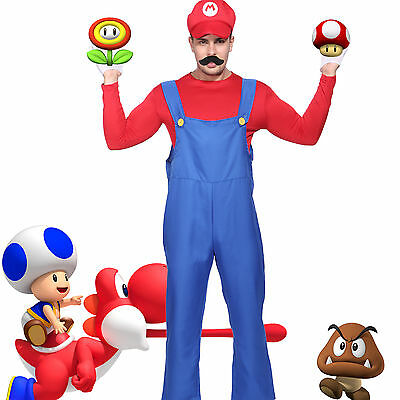 Gent Adult Super Mario Fancy Dress Plumber Workman Uniform Costume or Fake Belly