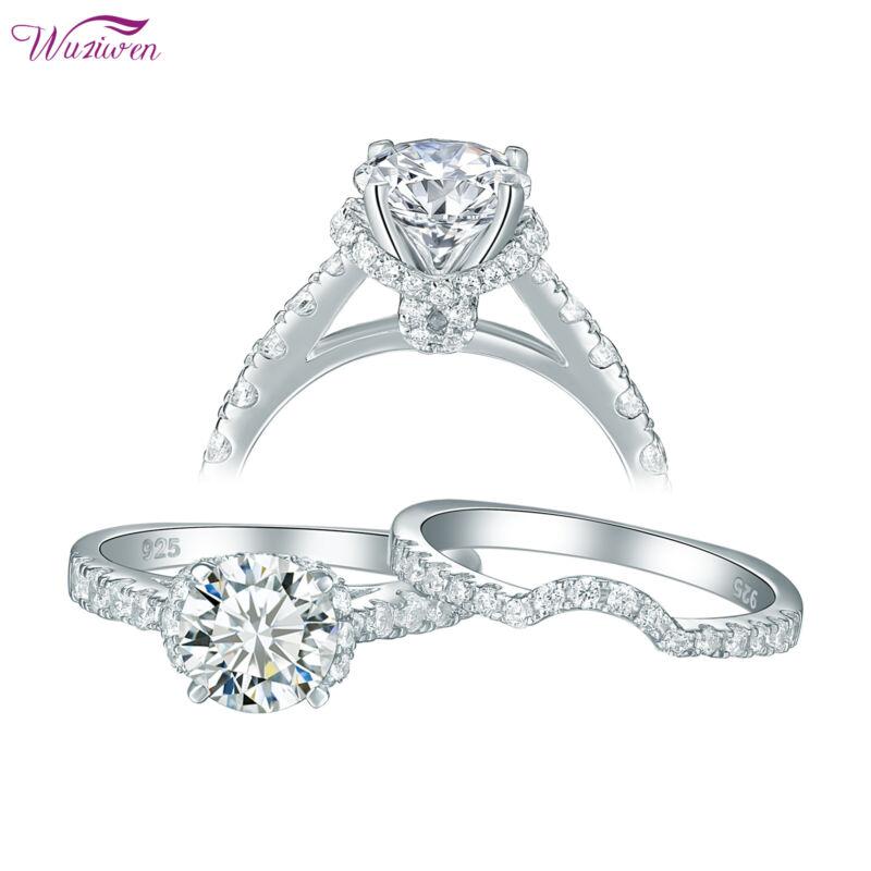 Wuziwen 2ct Round White Aaa Cz Engagement Wedding Ring Band Set For Women 5-10