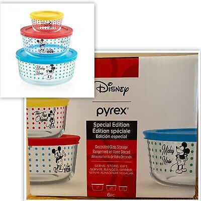 NEW DISNEY PYREX Mickey Mouse 6 Piece Glass Storage Bowls & Lids  SOLD OUT!! NWT
