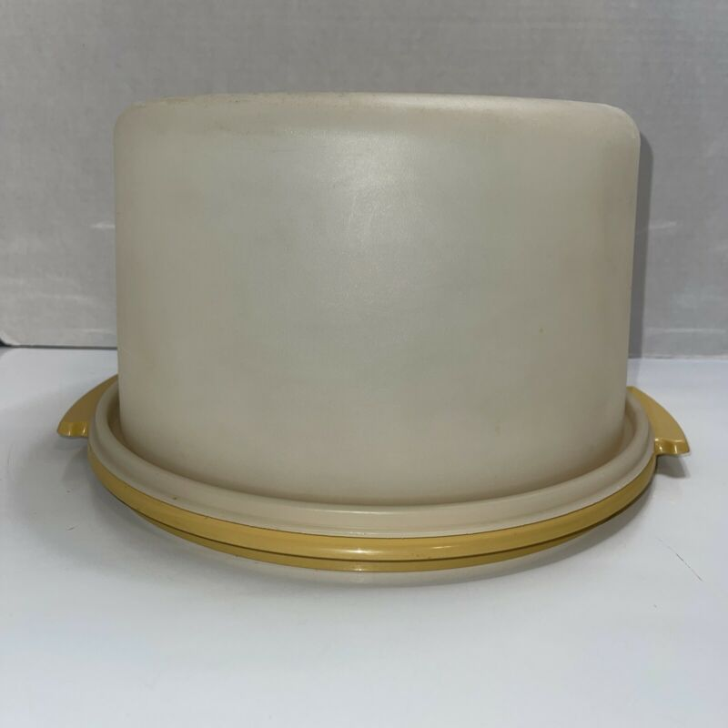 Vintage Tupperware Round Cake Holder Carrier with Gold Base  #684-5  #683-5 Top