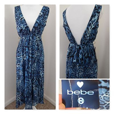 NWT Chiffon Halter DRESS~BLUE TIGER 100% SILK CHIFFON LAYERS~Ruched Hi-Lo Small Chiffon Ruched Halter Dress