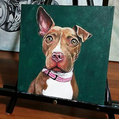 Custom Pet Portrait Painting 10''x10'' Acrylic on Canvas One Dog Made to Order Dog Portrait Canvas