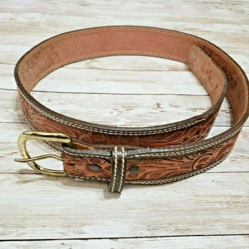 Vtg Leather Belt Brown Full Grain Cowhide Mens Sz 38 Hand Tooled Cowboy Western