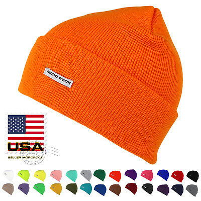 Mororock Cuff Beanie Hat Men Women Acrylic Plain Knit Ski Cap ()