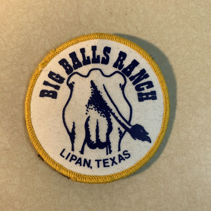 """Big Balls Ranch Lipan Texas Embroidered 3"""" Patch"""
