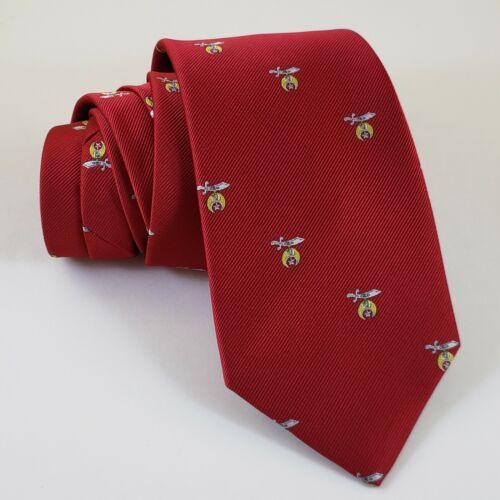 Masonic Tie Shrine Red Gold Shriner Polyester Poly Freemason Mason