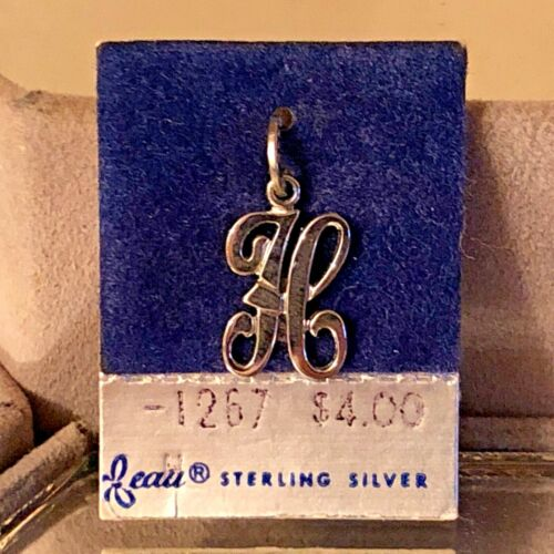 """NEW VTG Sterling Silver Beau Initial """"H"""" Charm Pendant 3/4"""" On original card"""