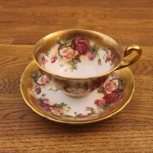 Royal Chelsea Golden Rose English Bone China Brushed Gold Tea Cup & Saucer Set