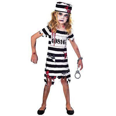 Mädchen Zombie Gefangener Prison Jailbird Kinder Dead Maskenkostüm