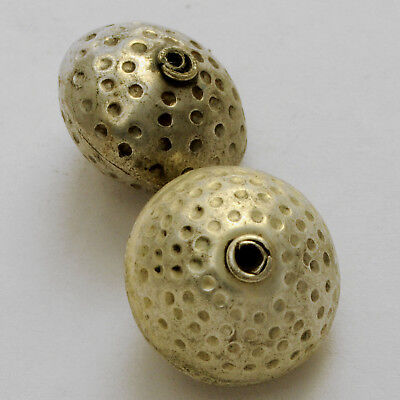 Hammered Silver Plated 2 Round Beads Tibetan Nepalese Handmade Nepal BD3197